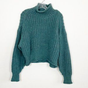 H&M Teal Chunky Knit Mock Neck Cropped Sweater M